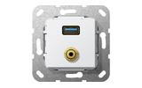Розетка аудио/видео Gira 568703 System 55 Вставка USB 3.0 типа A и миништырь 3,5 мм глянцевый белый