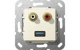 Розетка аудио/видео Gira 569001 System 55 Вставка аудио и USB 3.0 типа A глянцевый кремовый