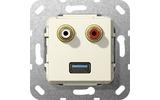 Розетка аудио/видео Gira 569101 System 55 Вставка аудио и USB 3.0 типа A глянцевый кремовый