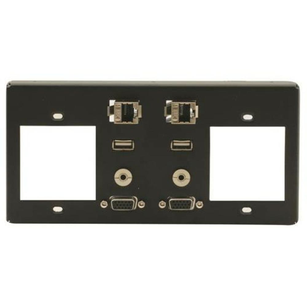 Рамка для TBUS-4 под 2 сетевые розетки, стандартный набор разъемов Kramer T4F-2S