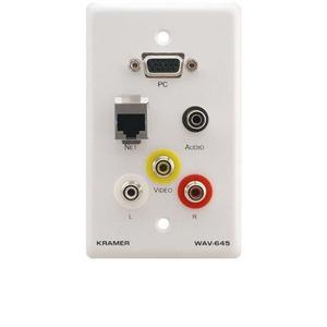 Установочная панель с разъемами RCA, S-Video, Аудио Kramer WAV-645/US(W)