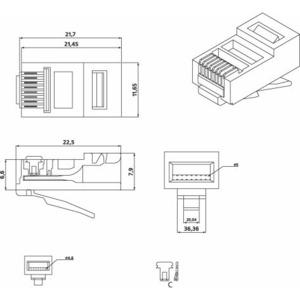 Разъем RJ-45 Hyperline PLUG-8P8C-U-C5 (1 шт)
