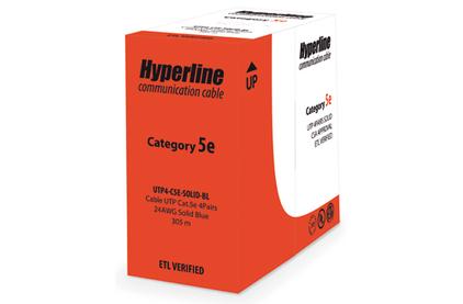 Кабель витая пара Cat.5e 4 пары без экрана Hyperline UTP4-C5E-SOLID-GY (1м)