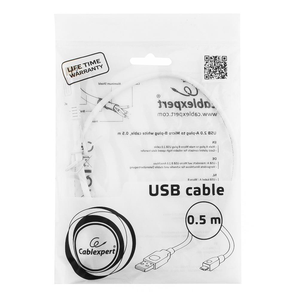 Micro USB кабель Cablexpert CCP-mUSB2-AMBM-W-0.5M 0.5m