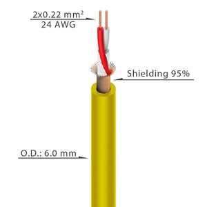 Кабель микрофонный в нарезку Roxtone MC002 Yellow