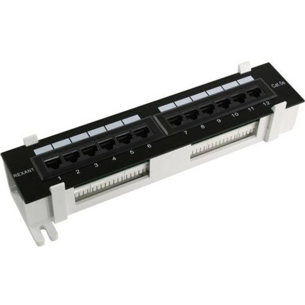 Патч-панель настенная Rexant 04-0020 12 портов RJ-45, категория 5е, UTP неэкранированная, черная