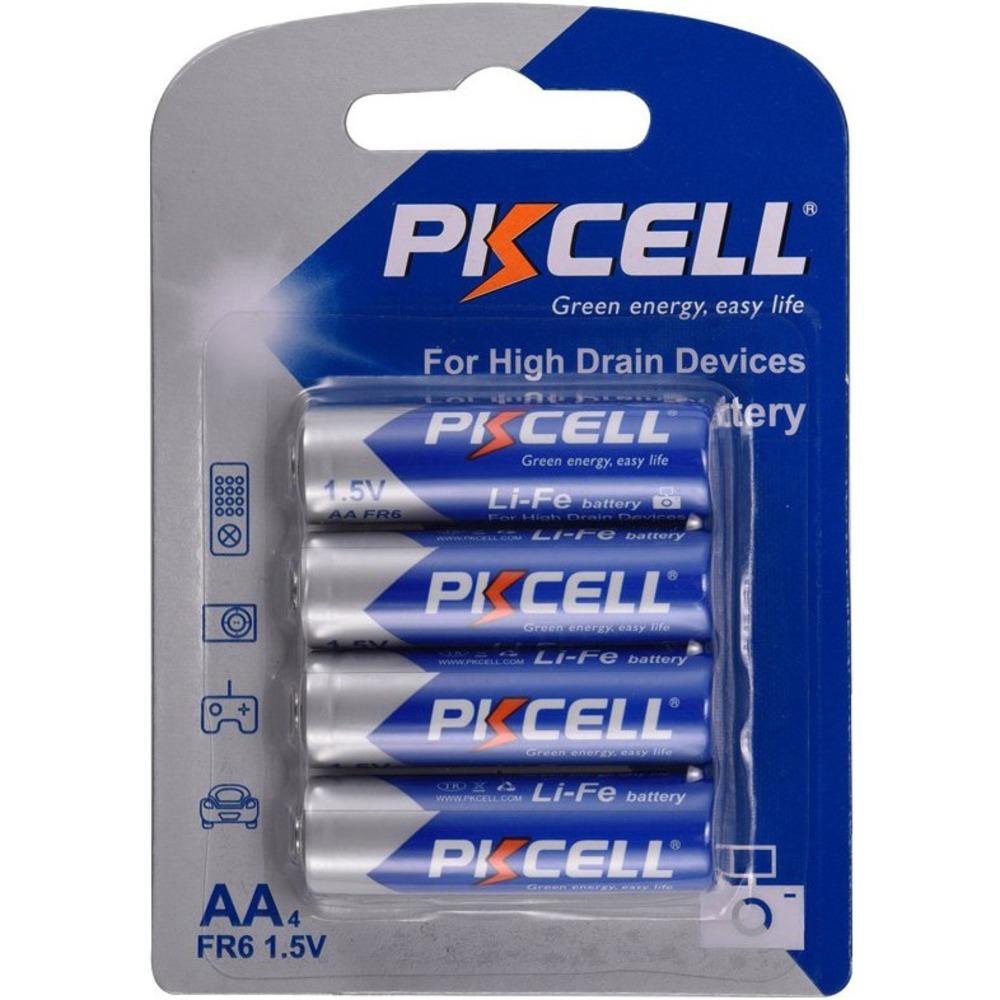 Батарейка PKCELL Li-Fe AA-4B тип - AA 4 шт в блистере