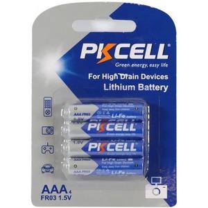 Батарейка PKCELL Li-Fe AAA-4B тип - AAA 4 шт в блистере