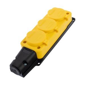Многорозеточный блок Rexant 111-126 Розетка штепсельная трехместная влагозащищенная, с/з, 16 А, IP54, каучук желтая