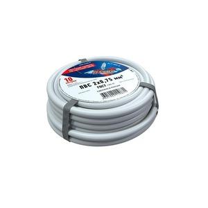 Провод электрический Rexant 01-8030-10 Провод соединительный ПВС 2x0,75 мм, белый, длина 10 метров, ГОСТ 7399-97