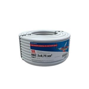 Провод электрический Rexant 01-8030-50 Провод соединительный ПВС 2x0,75 мм, белый, длина 50 метров, ГОСТ 7399-97