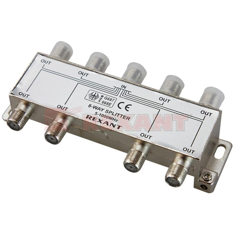 Антенный разветвитель Rexant 05-6005 ДЕЛИТЕЛЬ ТВ Краб х 8 под F разъём 5-1000 МГц (1 штука)