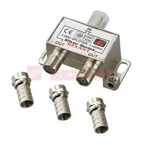Антенный разветвитель Rexant 05-6101 ДЕЛИТЕЛЬ ТВ Краб х 2 + 3шт. F-BOX 5-1000 МГц Silver (1 штука)