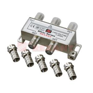 Антенный разветвитель Rexant 05-6103 ДЕЛИТЕЛЬ ТВ Краб х 4 + 5шт. F-BOX 5-1000 МГц Silver (1 штука)