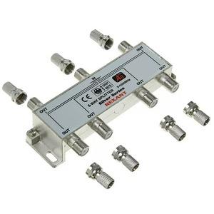 Антенный разветвитель Rexant 05-6104 ДЕЛИТЕЛЬ ТВ Краб х 6 + 7шт. F-BOX 5-1000 МГц Silver (1 штука)