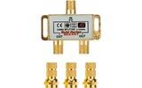 Антенный разветвитель Rexant 05-6101-1 ДЕЛИТЕЛЬ ТВ Краб х 2 + 3шт. F-BOX 5-1000 МГц Gold (1 штука)