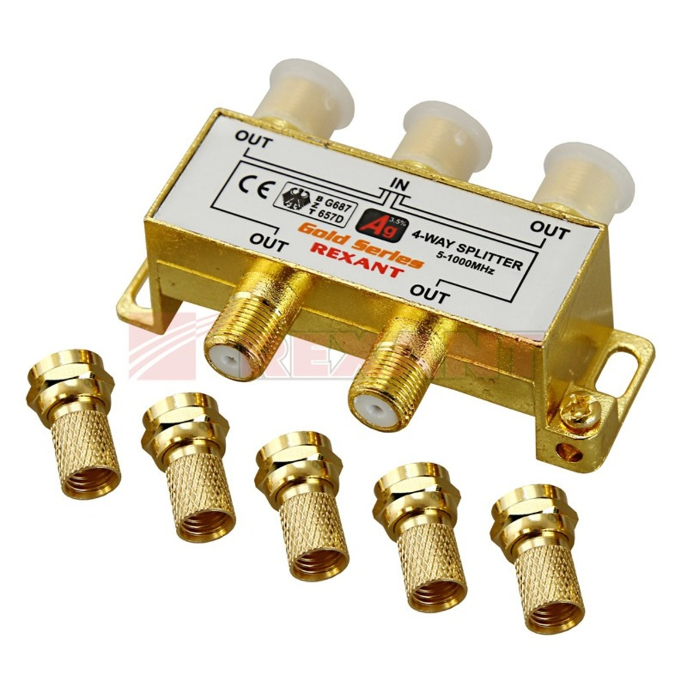 Антенный разветвитель Rexant 05-6103-1 ДЕЛИТЕЛЬ ТВ Краб х 4 + 5шт. F-BOX 5-1000 МГц Gold (1 штука)