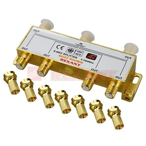Антенный разветвитель Rexant 05-6104-1 ДЕЛИТЕЛЬ ТВ Краб х 6 + 7шт. F-BOX 5-1000 МГц Gold (1 штука)