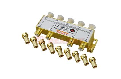 Антенный разветвитель Rexant 05-6105-1 ДЕЛИТЕЛЬ ТВ Краб х 8 + 9шт. F-BOX 5-1000 МГц Gold (1 штука)