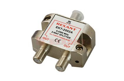 Усилитель-распределитель ВЧ сигналов Rexant 05-6201 ДЕЛИТЕЛЬ ТВ Краб х 2 под F разъём 5-2500 МГц СПУТНИК (1 штука)