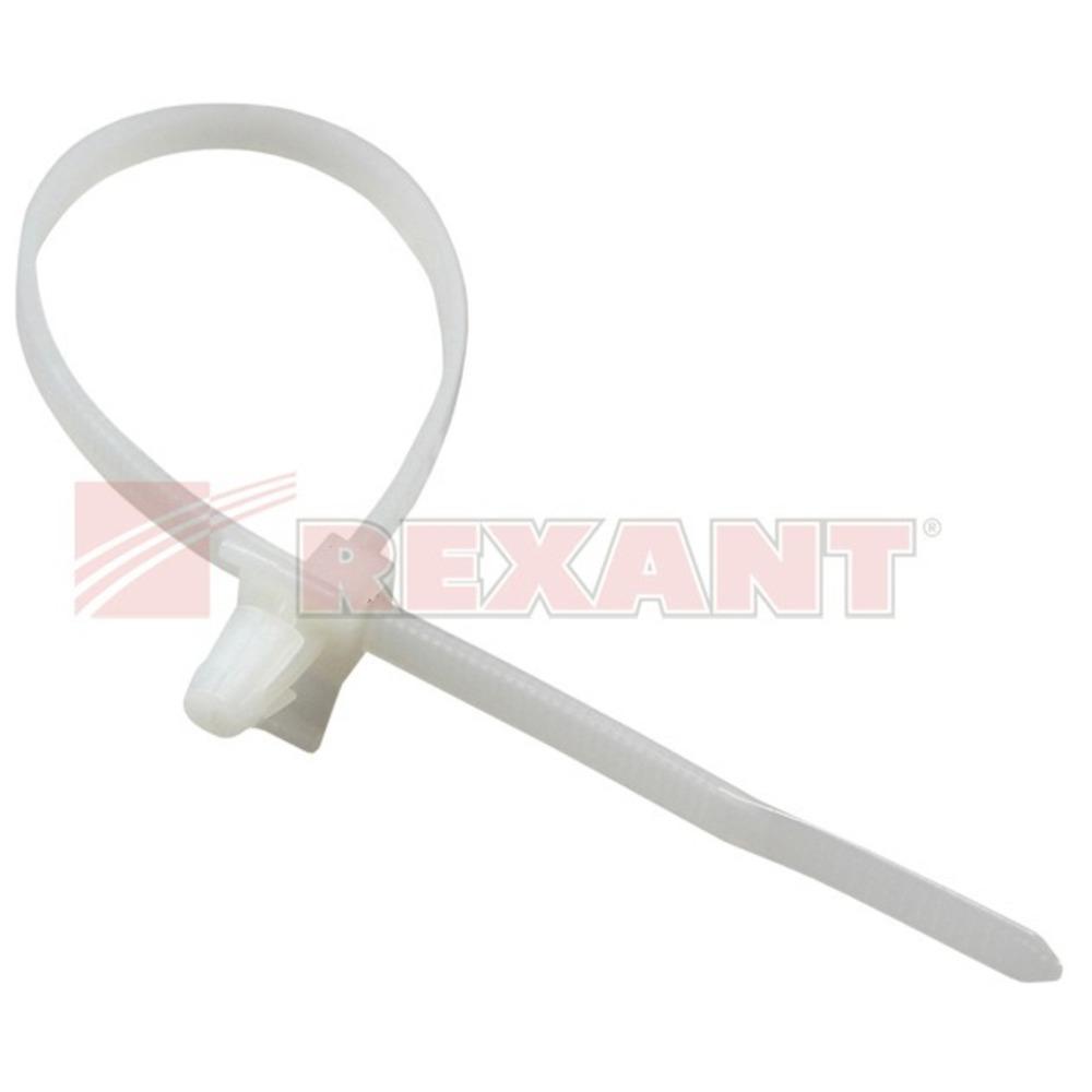 Хомут нейлоновый (кабельная стяжка) Rexant 07-0107 белый 2.5 х 100мм (100 штук)