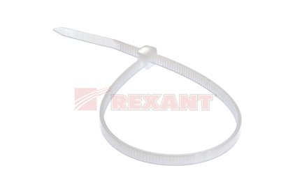 Хомут нейлоновый (кабельная стяжка) Rexant 07-0200-4 белый 3.0 х 200мм (100 штук)
