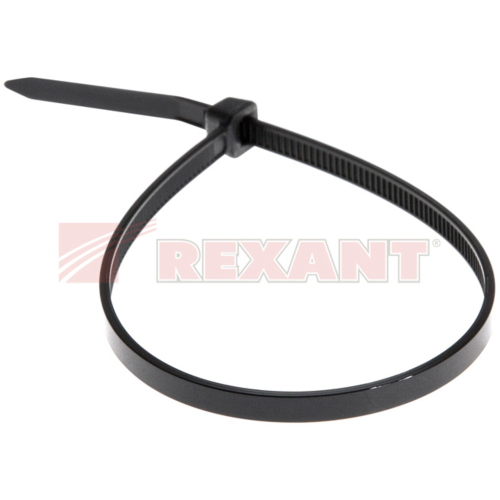 Хомут нейлоновый (кабельная стяжка) Rexant 07-0201-5 черный 5.0 х 200мм (100 штук)