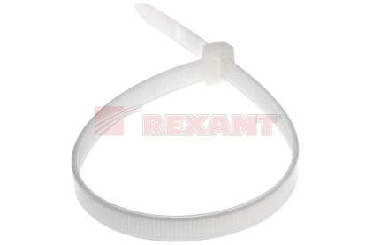 Хомут нейлоновый (кабельная стяжка) Rexant 07-0202 белый 8.0 х 200мм (100 штук)