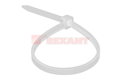 Хомут нейлоновый (кабельная стяжка) Rexant 07-0300 белый 4.0 х 300мм (100 штук)