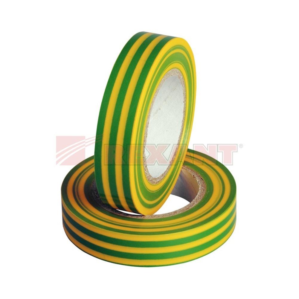 Изолента Rexant 09-2107 Изолента 15мм х 25м желто-зеленая (1 штука)