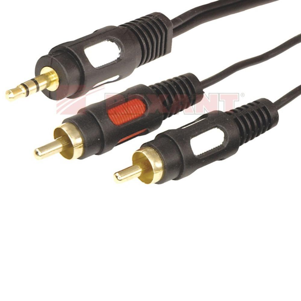 Кабель аудио 1xMini Jack - 2xRCA Rexant 17-4232 Gold (1 штука) 1.5m